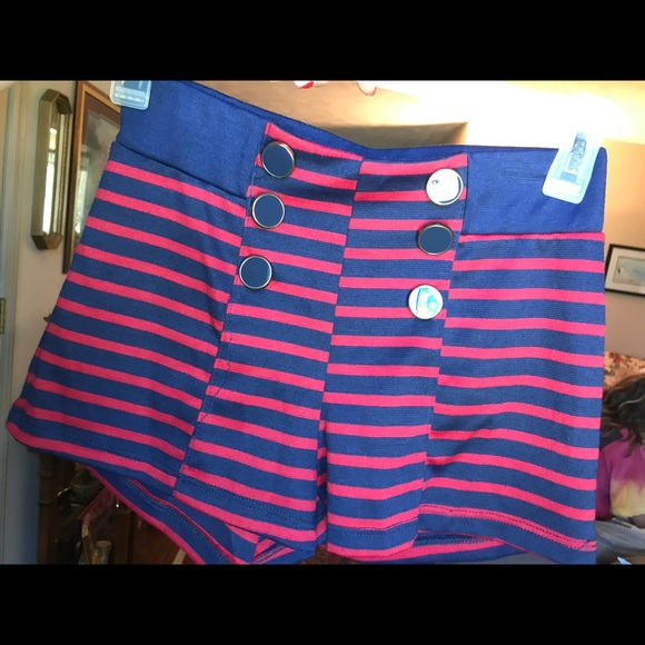 just ginger Pants - Blue and red striped shorts